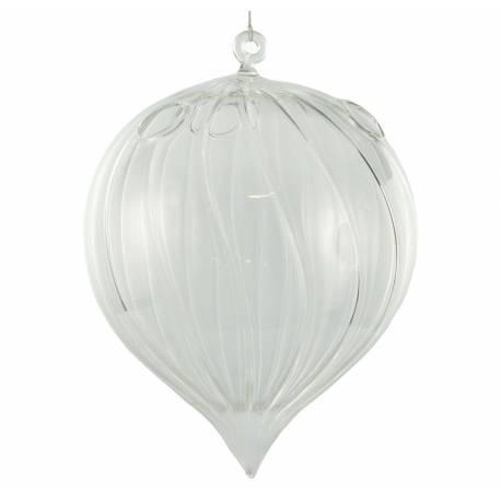 Goutte d'Eau Soliflore Globe à Suspendre Porte Fleur Porte Plante en Verre 15x15x19cm