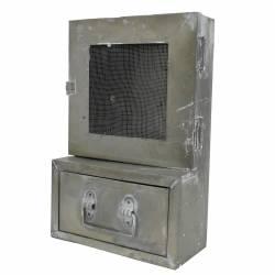 Boite à Clés Clefs et Tiroir Range Courrier Etagère D'Entrée Zinc Console Murale en Fer Gris 10,5x23,5x36,5cm