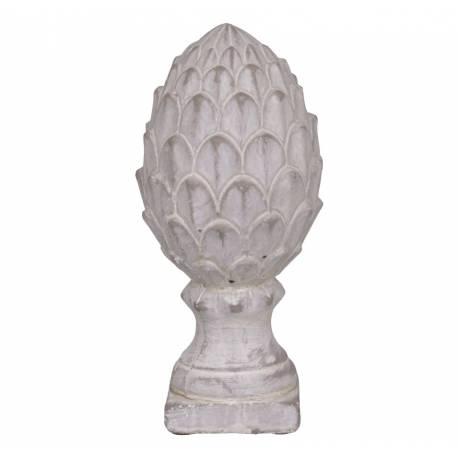Pomme de Pin Obélisque Epis de Faîtage Décoratif en Terre Cuite Blanche 9,5x9,5x19,5cm