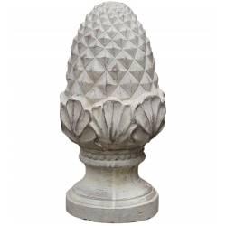 Pomme de Pin Obélisque Epis de Faîtage Décoratif en Terre Cuite Patinée Blanche 16x16x31cm