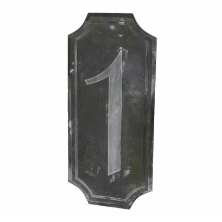 """Plaque Numéro Décorative Murale à Poser Ecriteau avec Inscription Numérotée """"1"""" en Fer Patiné Gris 0,1x7x15,5cm"""