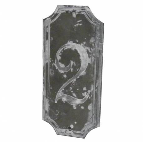 """Plaque Numéro Décorative Murale à Poser Ecriteau avec Inscription Numérotée """"2"""" en Fer Patiné Gris 0,1x7x15,5cm"""