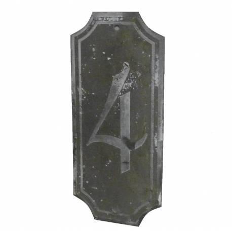 """Plaque Numéro Décorative Murale à Poser Ecriteau avec Inscription Numérotée """"4"""" en Fer Patiné Gris 0,1x7x15,5cm"""
