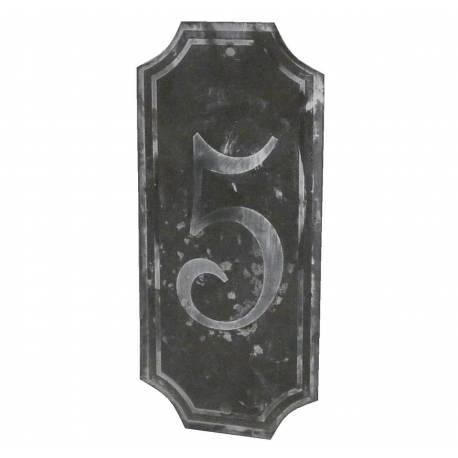 """Plaque Numéro Décorative Murale à Poser Ecriteau avec Inscription Numérotée """"5"""" en Fer Patiné Gris 0,1x7x15,5cm"""