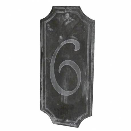"""Plaque Numéro Décorative Murale à Poser Ecriteau avec Inscription Numérotée """"6"""" en Fer Patiné Gris 0,1x7x15,5cm"""