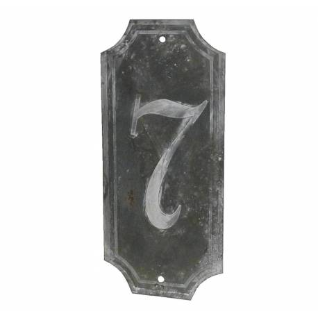 """Plaque Numéro Décorative Murale à Poser Ecriteau avec Inscription Numérotée """"7"""" en Fer Patiné Gris 0,1x7x15,5cm"""
