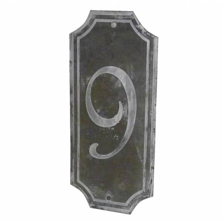"""Plaque Numéro Décorative Murale à Poser Ecriteau avec Inscription Numérotée """"9"""" en Fer Patiné Gris 0,1x7x15,5cm"""