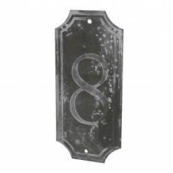 """Plaque Numéro Décorative Murale à Poser Ecriteau avec Inscription Numérotée """"8"""" en Fer Patiné Gris 0,1x7x15,5cm"""