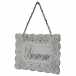 """Plaque Décorative Porte à Suspendre Ecriteau avec Inscription """"Bienvenue"""" en Fer Patiné Blanc 0,1x16,5,24,5cm"""