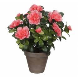 Fleurs Artificielles en Tissu dans son Pot en Terre Cuite Décoration Fleurie Azalée Rose 20x20x27cm