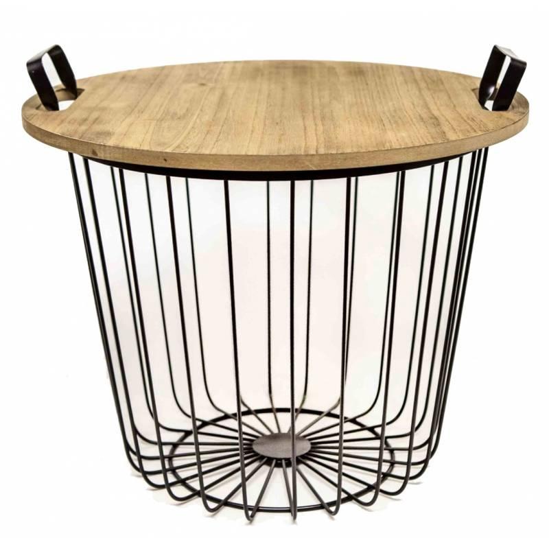 Bout de canap corbeille fer noir et bois gu ridon desserte table de chevet 39x45x45cm l - Bout de canape bois et fer forge ...