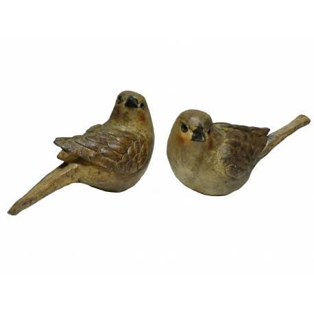 Couple ou Lot de 2 Oiseaux Décoratifs en Résine Décorée 5x6x10cm