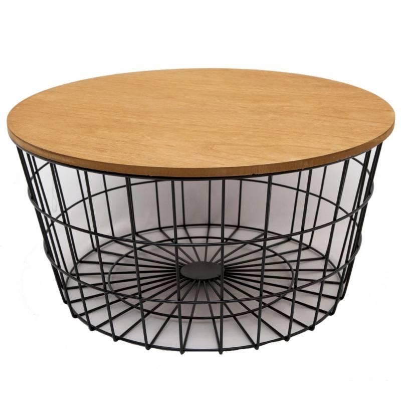 Bout de canap corbeille en fer noir et bois gu ridon - Table basse en fer et bois ...