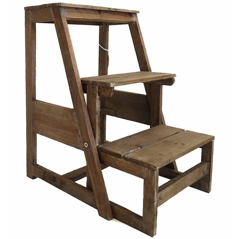 etag re meuble escalier escabeau pliable porte plantes 3 etages en bois patin marron. Black Bedroom Furniture Sets. Home Design Ideas