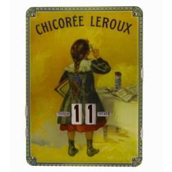 Plaque Publicitaire Murale Calendrier Chicorée Leroux en Metal 1x27,5x37cm