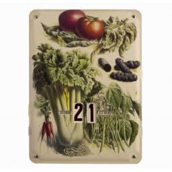Plaque Publicitaire Murale Calendrier Motif Legumes en Metal 1x27,5x37cm