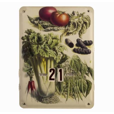 Plaque Publicitaire Calendrier Motif Legumes en Metal 1x27,5x37cm
