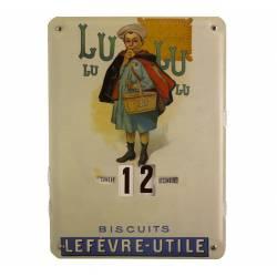 Plaque Publicitaire Murale Calendrier Lu en Metal 1x27,5x37cm