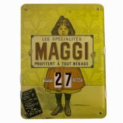 Plaque Publicitaire Murale Calendrier MAGGI en Metal 1x27,5x37cm