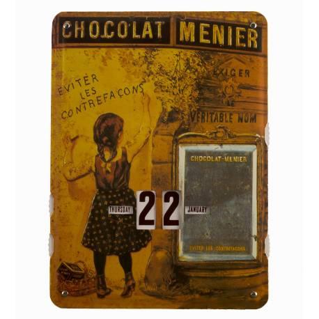Plaque Publicitaire Murale Calendrier Chocolat Menier en Metal 1x27,5x37cm