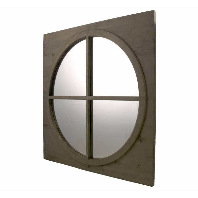 grand miroir carr glace ronde en bois style ancien oeil. Black Bedroom Furniture Sets. Home Design Ideas