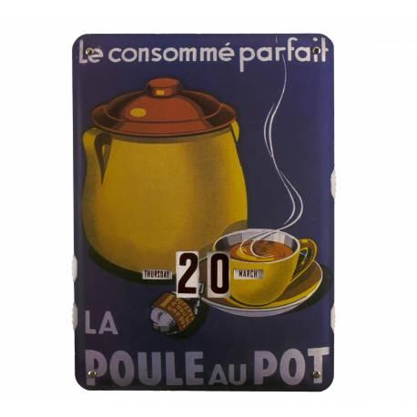 Plaque Publicitaire Murale Calendrier La Poule au Pot en Metal 1x27,5x37cm