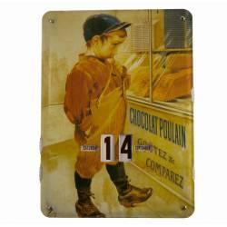 Plaque Publicitaire Murale Calendrier Chocolat Poulain en Metal 1x27,5x37cm