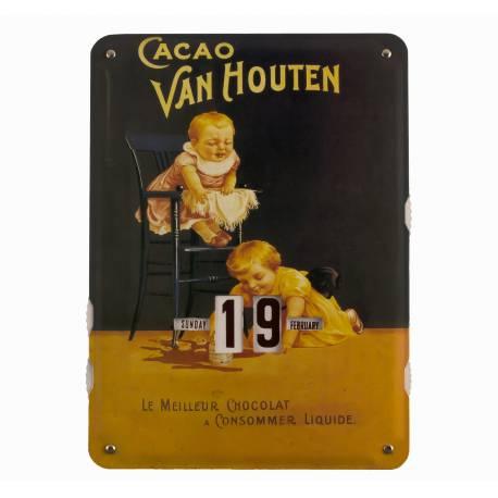 Plaque Publicitaire Murale Calendrier Cacao Van Houten en Metal 1x27,5x37cm