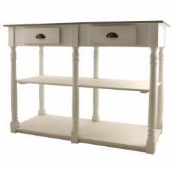 Table de Drapier Meuble de Rangement Console de Salle de Bain Meuble Vasque en Bois Blanchi 54x87x120cm