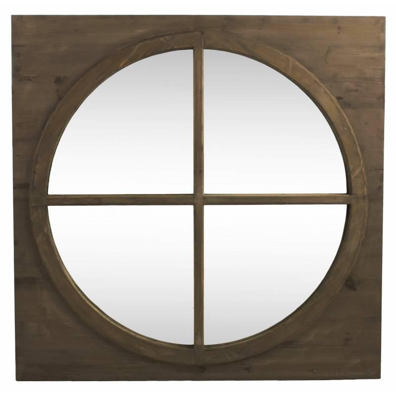 g ant miroir carr glace ronde en bois style ancien oeil. Black Bedroom Furniture Sets. Home Design Ideas
