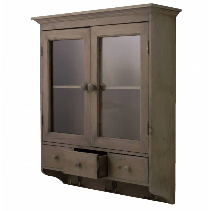 Etag re de rangement ou epices murale vitr e fa on - Armoire murale vitree ...