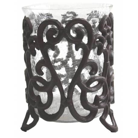 Photophore Bougeoir Décoratif à Bougies ou Pot Porte Plantes en Fonte et Verre Patinée Marron 15,5x15,5x21,5cm