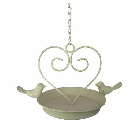 Bain à Oiseau Mangeoire à Oiseaux Nichoir Porte Pot ou Plante avec Chainette en Fer Patiné Blanc 15x22,5x36cm