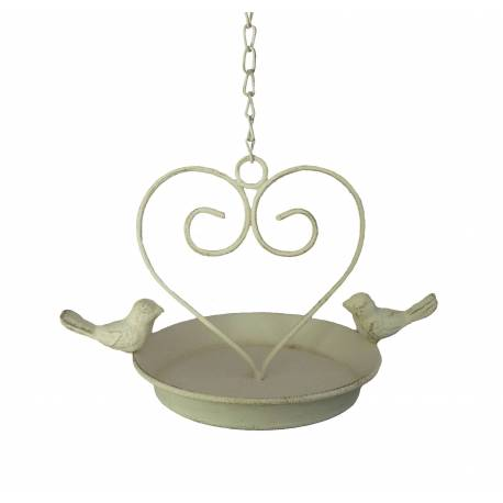 Bain à Oiseau Mural ou Bougeoir ou Porte Pot ou Plante avec Chainette en Fer Patiné Blanc 15x22,5x36cm