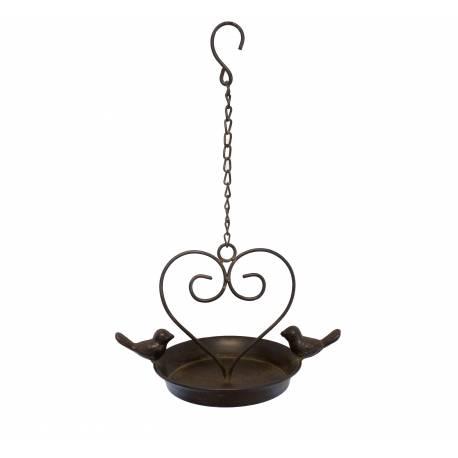 Bain à Oiseau Nichoir Mangeoire Oiseaux Porte Pot ou Plante avec Chainette en Fer Patiné Marron 15x22,5x36cm