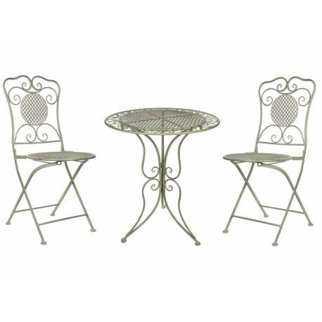 Salon De Jardin Salon De Th 2 Places Personnes Table Bistrot Et 2 Chaises Pliantes En Fer Vert