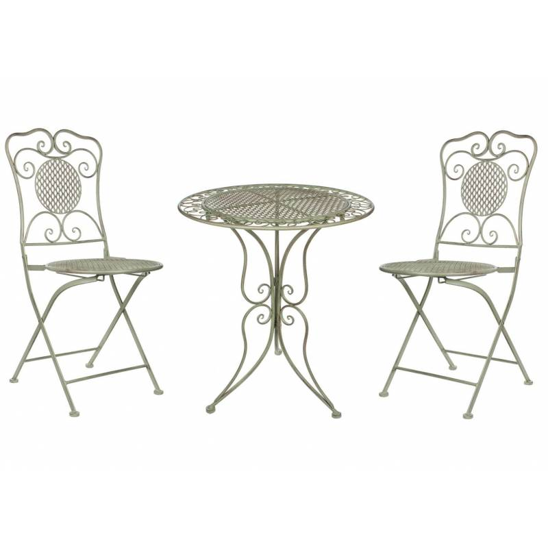 Salon de jardin salon de th 2 places personnes table bistrot et 2 chaises pliantes en fer vert for Table et chaises pliantes