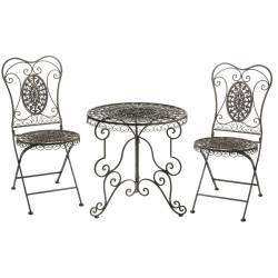 Salon de Jardin Salon de Thé 2 Places Personnes Table Bistrot et 2 Chaises Pliantes en Fer Marron