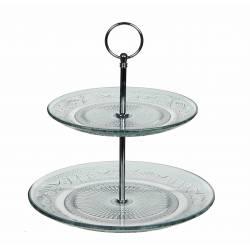 Présentoir Assiettes à 2 Étages ou Coupelles Plateau Apéritif Centre de Table en Verre Teinté et Métal Chromé 23x23x23,5cm