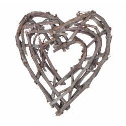 Coeur Couronne Décorative en Bois Grisé Décoration Murale ou à Poser Fronton 5x31x32cm