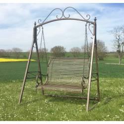 Balancelle de Charme Balançoire pour Adultes et Enfants 2-3 Places Mobilier de Jardin en Fer 108x165x240cm