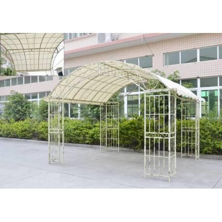 Grande Tonnelle Couverte Kiosque de Jardin Pergola Abris Rectangle en Fer Forgé Blanc 280x305x405cm