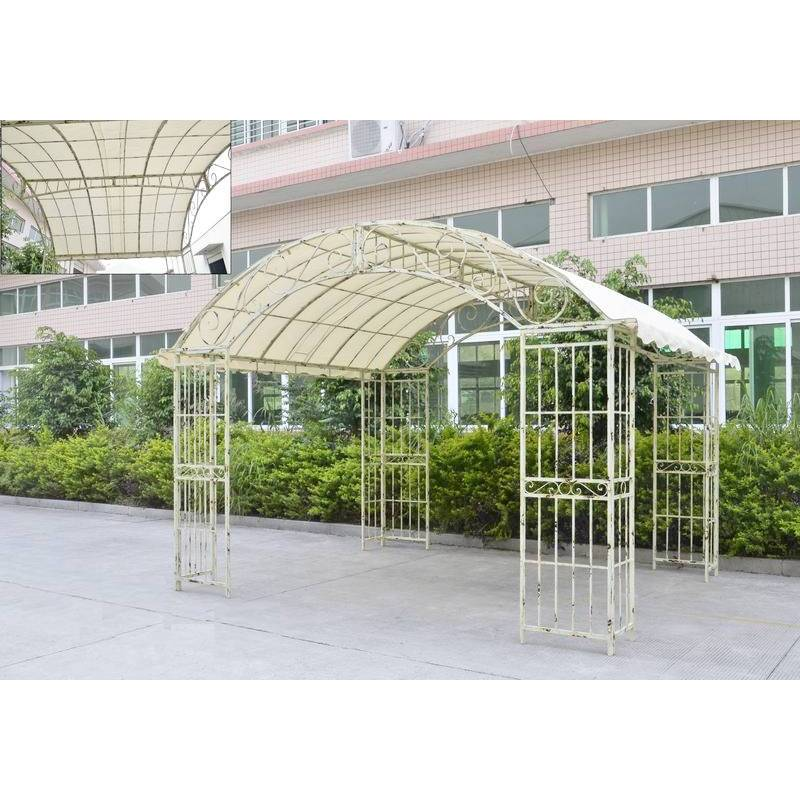 grande tonnelle couverte kiosque de jardin pergola abris rectangle en fer forg blanc. Black Bedroom Furniture Sets. Home Design Ideas