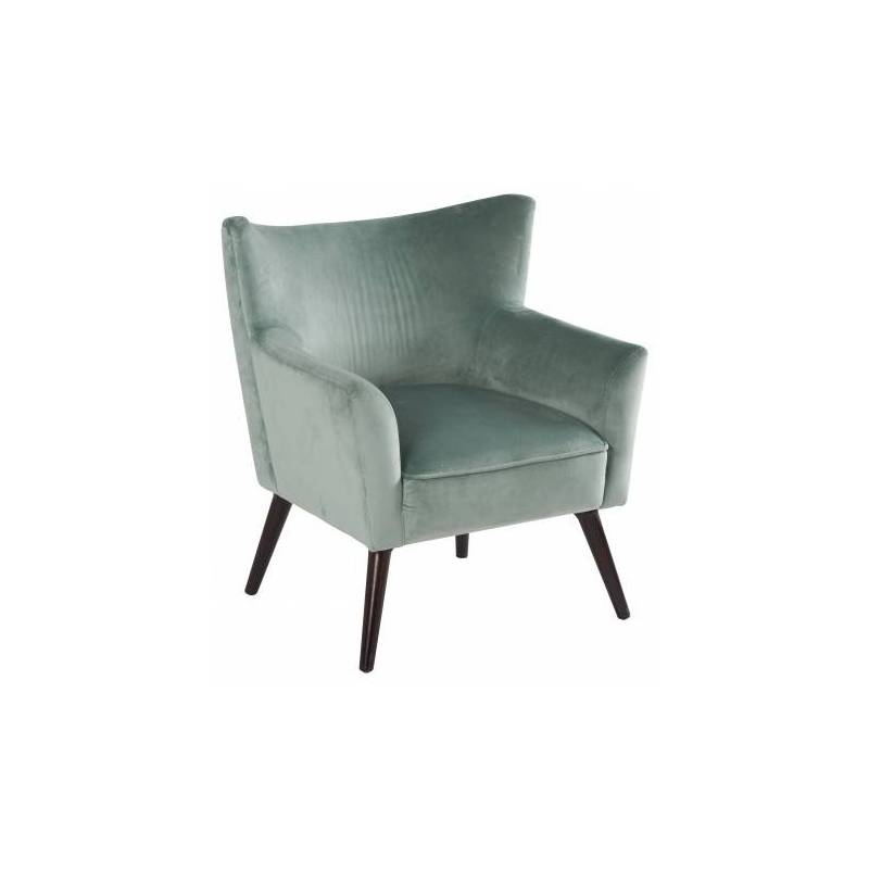 fauteuil wayne marque hanjel si ge de salon vintage en pin contreplaqu et velours vert de gris. Black Bedroom Furniture Sets. Home Design Ideas