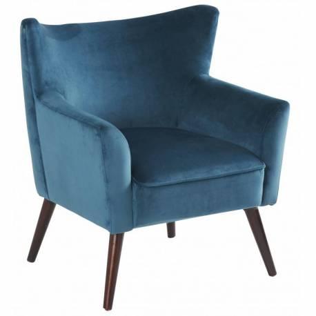 fauteuil wayne marque hanjel sige de salon look scandinave en pin contreplaqu et velours bleu canard - Siege Scandinave
