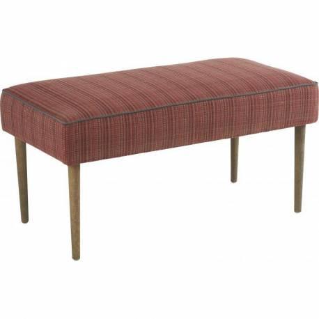 Banc Crawford Marque Hanjel Banquette Bout de Lit en Pin Chêne et Tissu Rouge Chiné 50x51x99cm