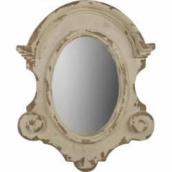 Grand Miroir Mural Régence Marque Athezza Glace Ovale Style Ancien Oeil de Boeuf Bois 13,5x89x110cm
