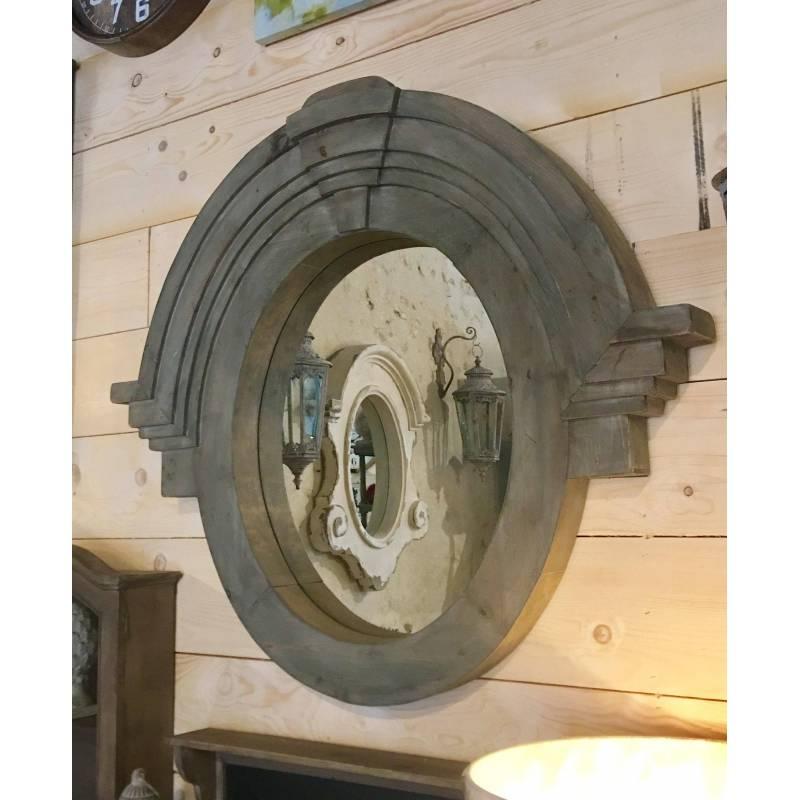 Grand miroir mural style oeil de boeuf ou chapeau de for Miroir oeil de boeuf