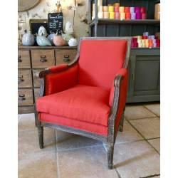 Bergère Fauteuil Siège de Salon en Chêne et Tissu Lin Couleur Orange 70x90x94cm