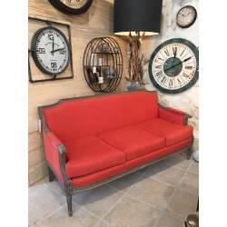 Canapé Sofa Siege de Salon 3 Grandes Places en Chêne et Tissu Lin Couleur Orange 76x93x180cm